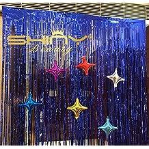 Tinsel Foil Fringe-Backdrop-3FTX8FT-Royal Blue Metallic Door Window Curtain Party Decoration