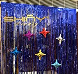 ShinyBeauty Foil Fringe-Curtain-Blue-12FTX10FT,Tinsel Metalic Photo Booth Background for Party,Prom,Birthday,Wedding,Event(Blue)
