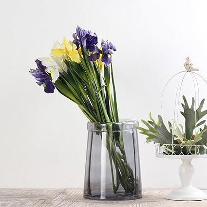 Simple florero de vidrio ondulado recto/ botella de la flor/ botella de agua/