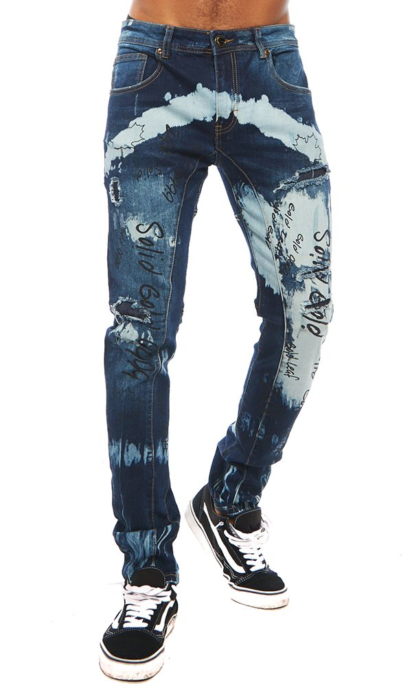''Solid Gold'' Gold Leaf Blue Jeans 30