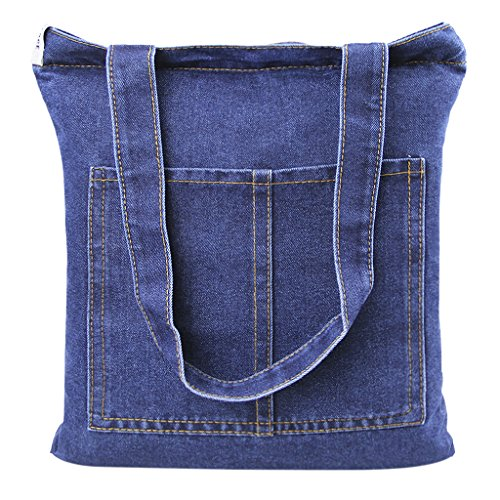 Casual Denim Handbag Shoulder Bag Purse Soft Jeans Shopping Bag Large Capacity Tote Holes Bag with Cell Phone Pouch for Girls - Tote Denim Shoulder