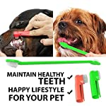 Dog Toothpaste and Toothbrush Set [REMOVES FOOD DEBRIS] Double Sided with Long Curved Handle [SUPER EASY CLEANING] - Best Soft Silicone Pet Toothbrush for Cats And Dogs [EXPANDABLE FINGER ENTRY] - Col 16