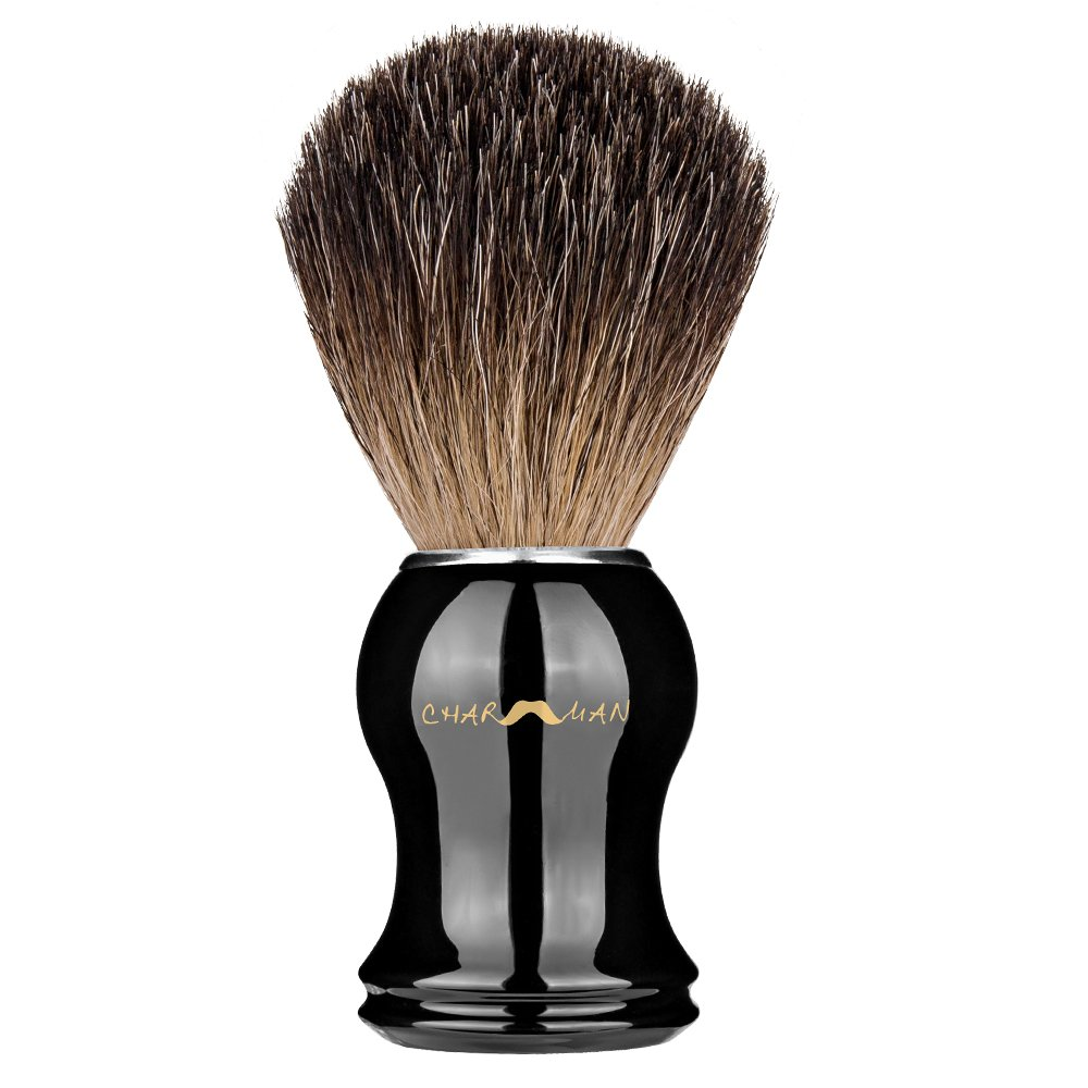 CHARMMAN Classic 100% Genuine Pure Badger Hair Bristles Shaving Brush,Black Handle,Luxurious Package
