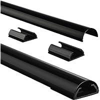 Hama Kabelkanal Alu (Aluminium, halbrund, 110 x 3,3 x 1,8 cm, bis zu 5 Kabel, 4 Halteclips), schwarz