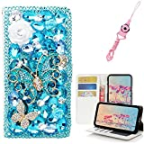 EVTECH LG X Power 2 Case,LG Fiesta LTE Case,LG K10 Power Case with Lanyard Neck Strap, [Stand Feature] Butterfly Wallet Case Premium [Bling Luxury] Leather Flip Cover [Card Slots]