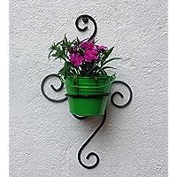 Green Gardenia Iron S Wall Bracket with Bucket Planter