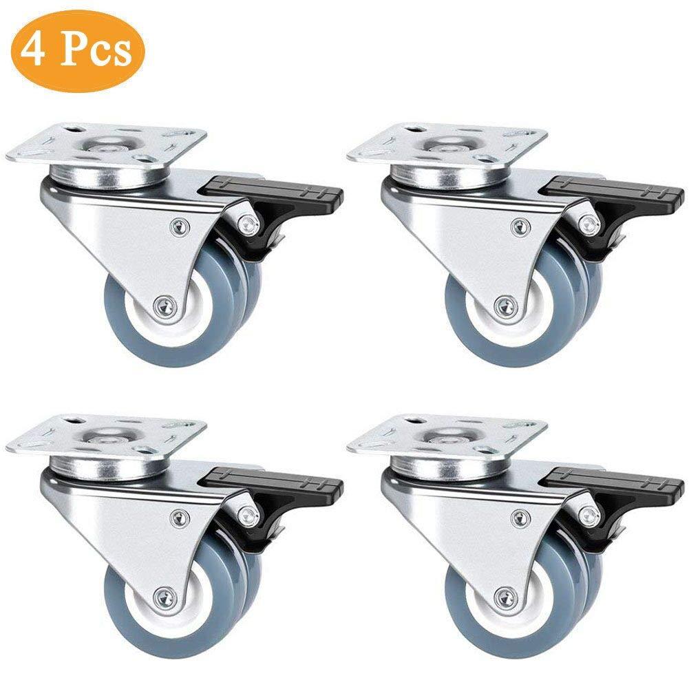 Queta 4pcs Roulettes Pivotantes Caster Pivotant 360°avec Frein pour Meubles / Transport Capacité de Charge 400 kg