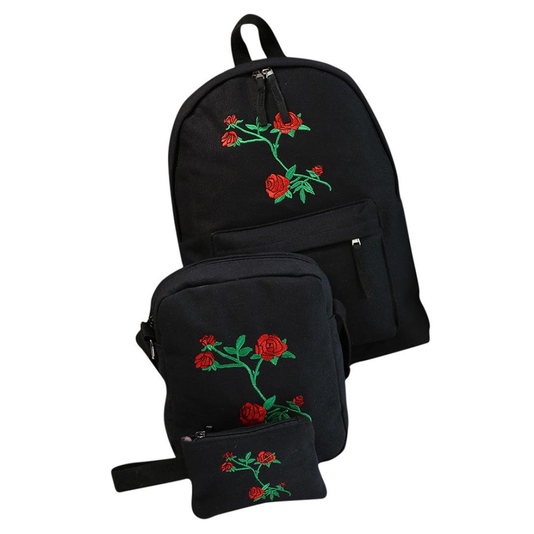 Outsta 3 Sets Girls Embroidery Shoulder Bag,Embroidery Rose School Bag Travel Backpack Bag Shoulder Bag Handbag Classic Basic Water Resistant Casual Daypack for Travel (Black) by Outsta