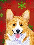 Caroline's Treasures SS4693CHF Corgi Red and Green Snowflakes Holiday Christmas Flag Canvas, Large, Multicolor Review