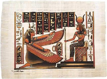 Isis Diosa Del Amor Con Maet La Diosa De La Belleza Y Justicia Papiro Original Hecho A Mano Y Pintado A Mano En Egipto Mide 33 X43 Cm Aprox Amazon Es Hogar