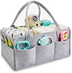 Clearworld Baby Diaper Caddy Organizer - Baby Shower Gift Basket for Changing Table and Car, Portable Nursery Storage Bin Great for Storing Diapers, Bottles, Baby's Toys (Grey)