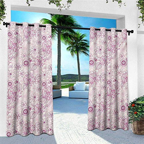 leinuoyi Floral, Outdoor Curtain Extra Wide, Shabby Chic Vintage Flower Motifs in Soft Toned Essence Beauty Nature Design, for Balcony W120 x L108 Inch Fuchsia Pale Pink ()