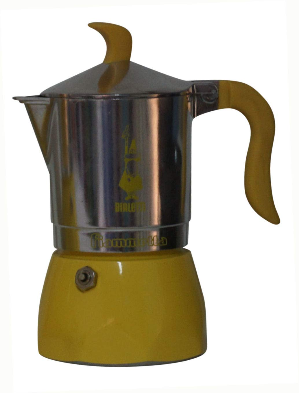 Bialetti:''Fiammetta'' Colours 3-Cups Yellow, New Ergonomic Shape for Handle and Knob [ Italian Import ]