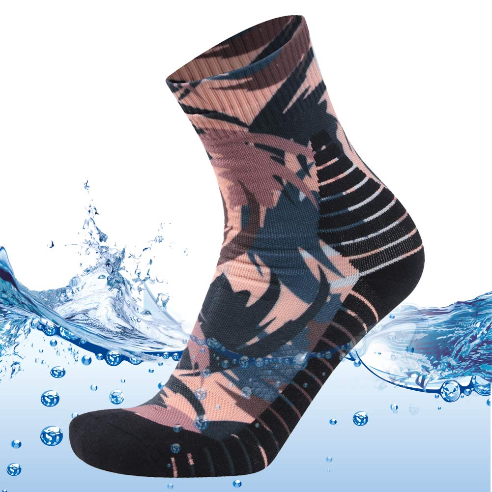 MEIKAN Men's Large Size Waterproof Socks Fashion Printed Water-Resistant Trekking Hiking Hunting Fishing Socks 1 Pair (Brown, X-Large) by MEIKAN