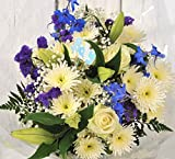 New Baby Boy Blue Fresh Flower Bouquet Delivered – Special Unique Newborn Gift for Mum & Dad Or Baby Shower Idea Personalised with Handwritten Card - Free UK Next Day Delivery 1hr Timeslot