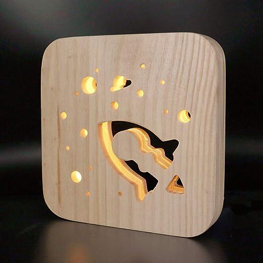 Lámpara de mesa Ajustable Creativa Huhuswwbin, LED Rocket USB ...