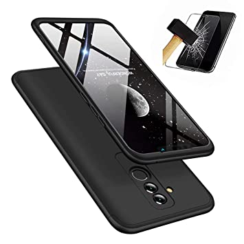 nuovo di zecca 5b4d4 da7f1 Huawei Mate 20 Lite Case, Laixin Protection 3 in 1 Slim Hard PC Cover with  Screen Protector Shockproof Shell Full Body Protective Case Bumper (Black)