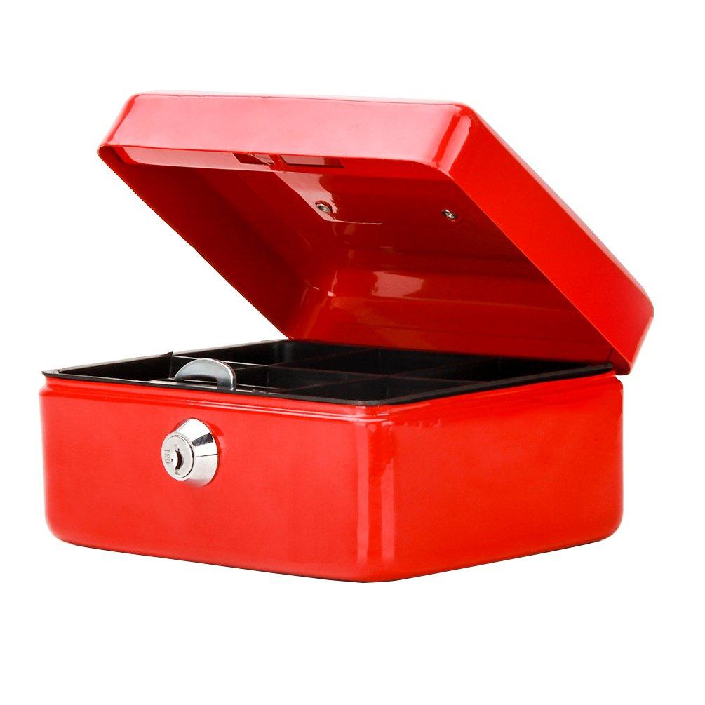 小さなキャッシュボックスwithキーロック、DecallerポータブルメタルMoney Box with Double Layer & 2キーforセキュリティ、6 1 /5