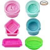 WXBOOM 12pcs Handmade Silicone Soap Molds, DIY Soap Mold for Soap Making - 6 different Colors & Shaped