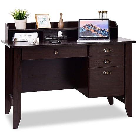 Sensational Tangkula Computer Desk Home Office Desk Wood Frame Vintage Style Student Table With 4 Drawers Bookshelf Pc Laptop Notebook Desk Spacious Beutiful Home Inspiration Truamahrainfo