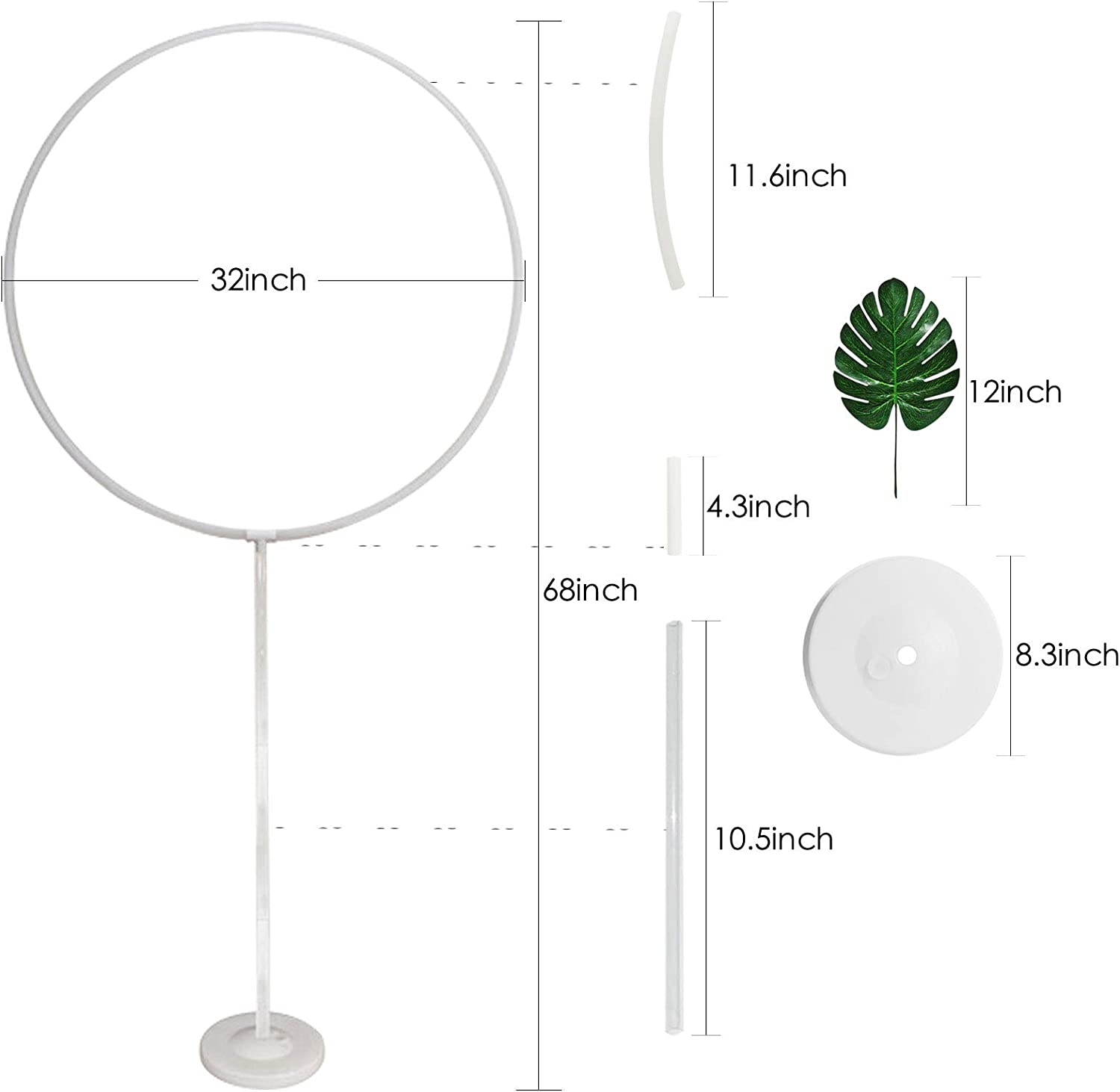Strip /& 5 Packs of Accessories Included Balloon Column Base Balloon Tie Tool Pole Elecrainbow 67 Inches Height Round Circle Balloon Arch Frame Stand Kit for Party Decorations Balloon Clip Rings