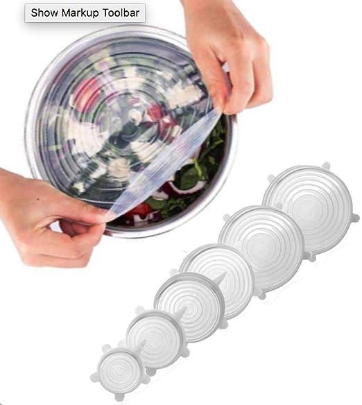 Amazon.com: 6 tapas elásticas de silicona transparente de ...