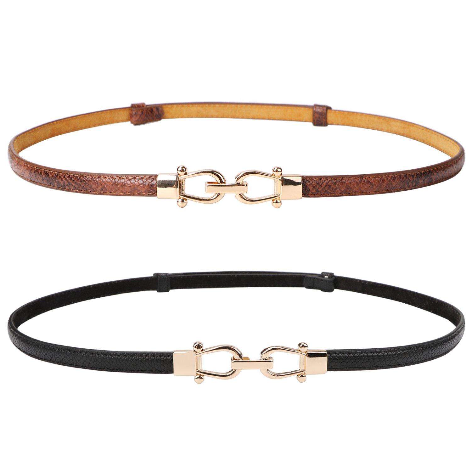 Leather Skinny Women Belt Thin Waist Belts for Dresses Up to 37''with Interlocking Buckle 2 Pack