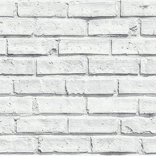 Arthouse, White Painted Brick Extremely Realistic Wallpaper, Modern Home ()