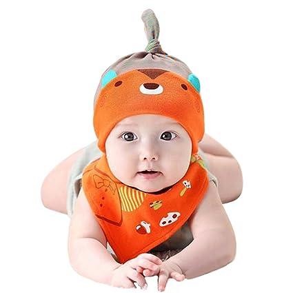 AchidistviQ 2PCS Baby Toddler Cartoon Bear Hat – Set di Bavaglini Triangolo  Saliva Asciugamano Testa Sciarpa 613d47e03682