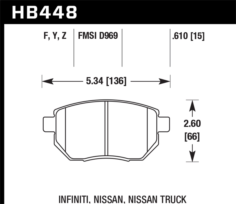 Hawk Front Set Performance HPS Brake Pads HB448F.610
