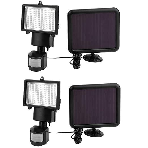 Solarleuchte 100 LED Solarlampe Bewegungsmelder Außen Fluter Sensor Strahler DE