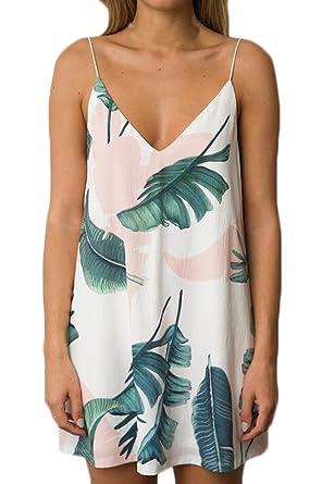 Vestidos Verano Mujer Elegantes Cortos Estampados Hojas Vestidos Casual V Cuello Basic Tirantes Hombros Descubiertos Una Línea Juveniles Mini Vestido ...