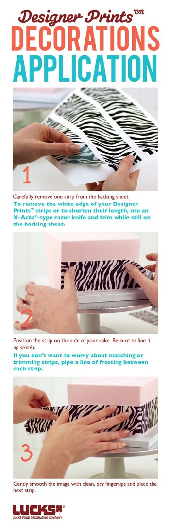 1/4 Sheet Bright Watercolor Frosting Image with Designer Strips Edible Cake Borders