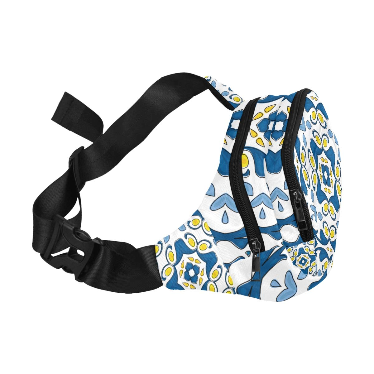 Yellow And Blue Design Print Fenny Packs Waist Bags Adjustable Belt Waterproof Nylon Travel Running Sport Vacation Party For Men Women Boys Girls Kids
