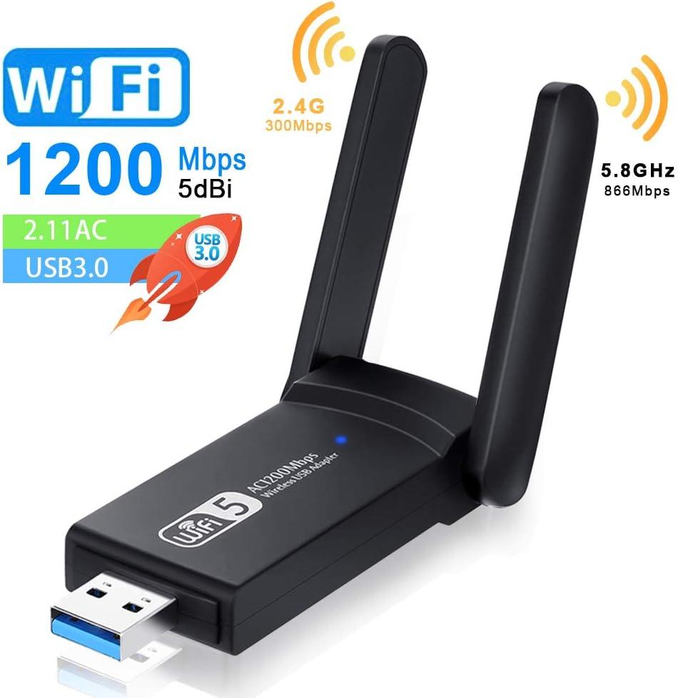 NEKAN Adaptador WiFi, USB 3.0 AC 1200Mbps Dongle 802.11 con Dual Band 5Ghz / 2.4Ghz, Antena de Alta Ganancia de 5dBi WiFi Receptor para PC Desktop Tablet, Compatible con Windows XP/7/8/8.1/10.