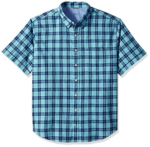 Chambray Plaid Short Sleeve Shirt (Big Slim Tall), Blue Radiance, 3X-Large ()