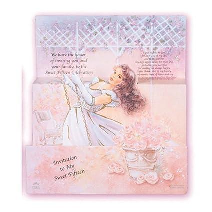 Amazon Com Beautiful English Quinceanera Sweet 15 Invitations