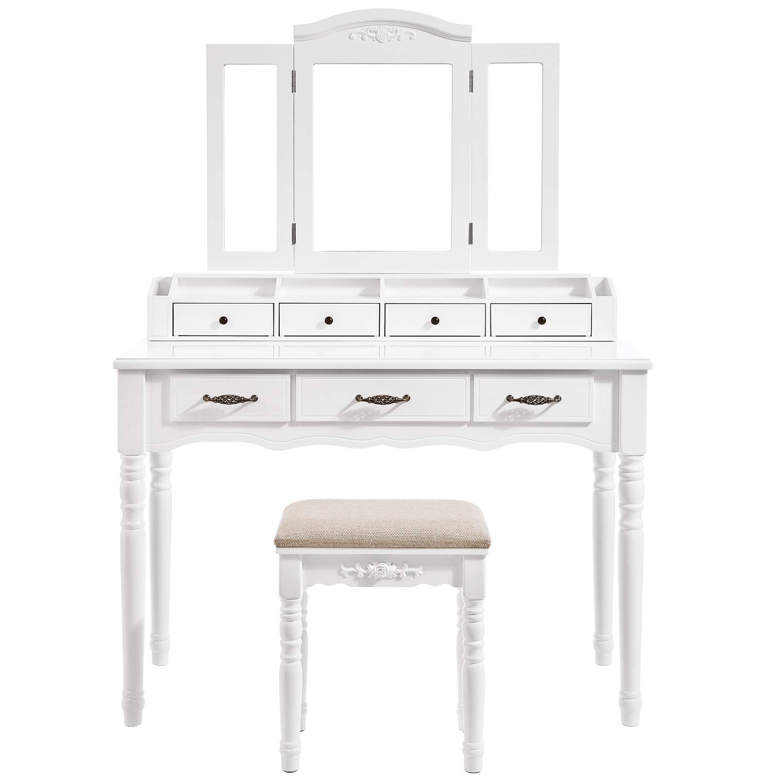 VASAGLE Vanity Set, Tri-Folding Necklace Hooked Mirror, 7 Drawers, 6 Organizers Makeup Dressing Table with Cushioned Stool Easy Assembly, for Women White URDT06M