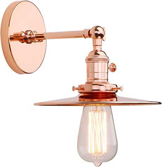 Industrial Indoor Sconce Suitable for Kitchen Bedroom Bar Loft Lighting E27 Socket Copper Finish Hallway Wall Mount Lamp Copper Phansthy Retro Wall Light