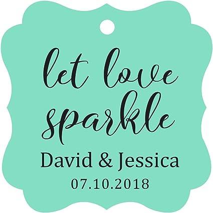 Darling Souvenir Marco de lujo personalizado de papel Etiquetas Sparklers boda dejar que Let Love Sparkle etiquetas colgantes personalizados-magenta-50 Etiquetas