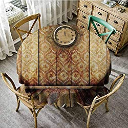 ScottDecor Camping Round Tablecloth Victorian Decor,Antique Clock on Medieval Style Wall Wooden Floor Classic Architecture Theme Art,Beige Brown Outdoor Picnics Diameter 50