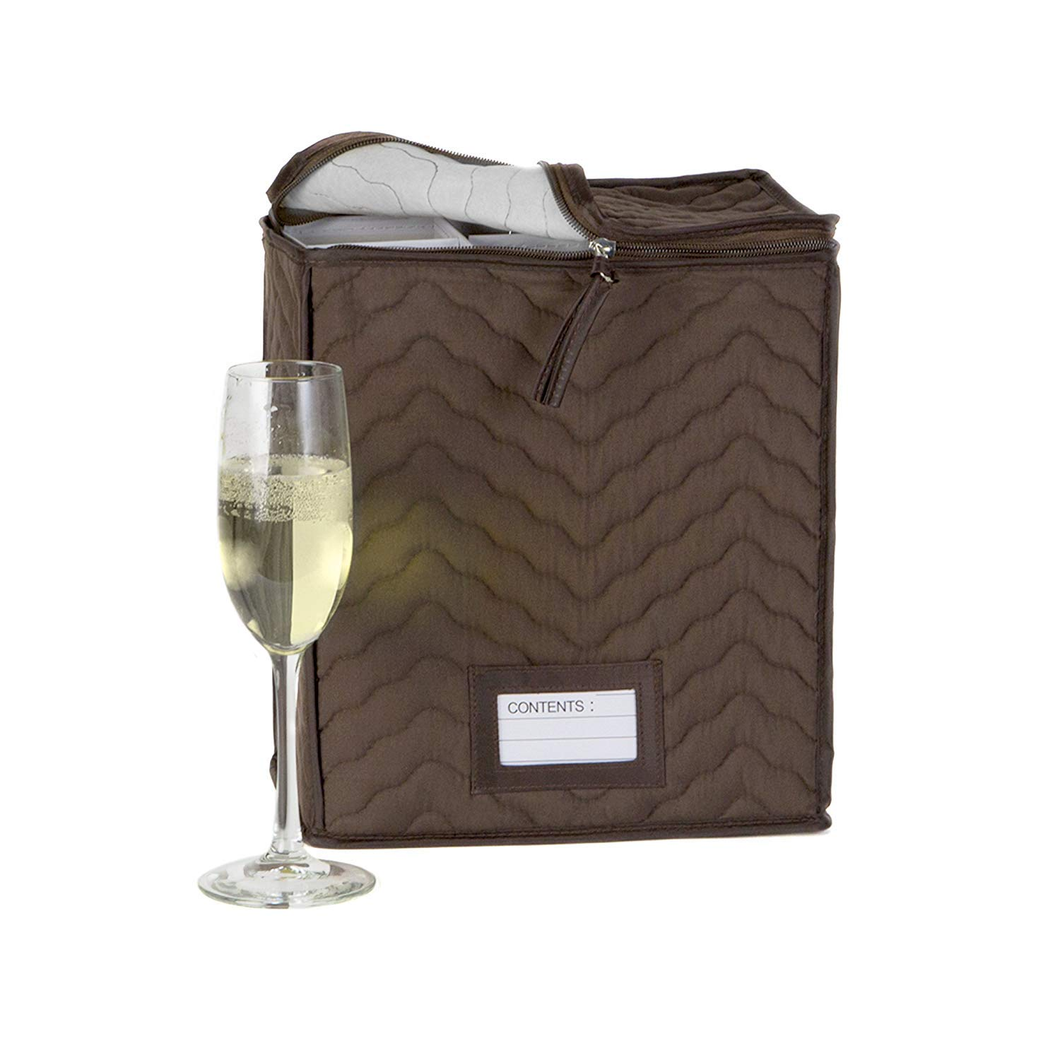 """Champagne Flute Glass Goblets Deluxe Storage Chest - Holds 6 Stemware Glasses - Quilted Microfiber - Protect Your Valuable Glassware from Dings, Scratches And Cracks -Brown -11""""X 9.25""""X 6"""""""