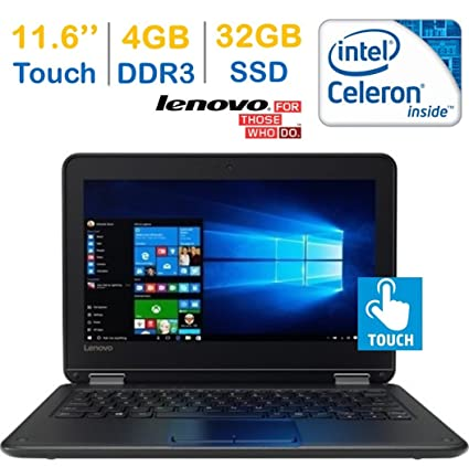 Lenovo Premium 11 6-inch (1366 x 768) Touchscreen IPS 2-IN-1 Laptop PC  (Intel Celeron Processor 1 6GHz, 4GB RAM, 32GB SSD, WIFI, Bluetooth, HDMI,