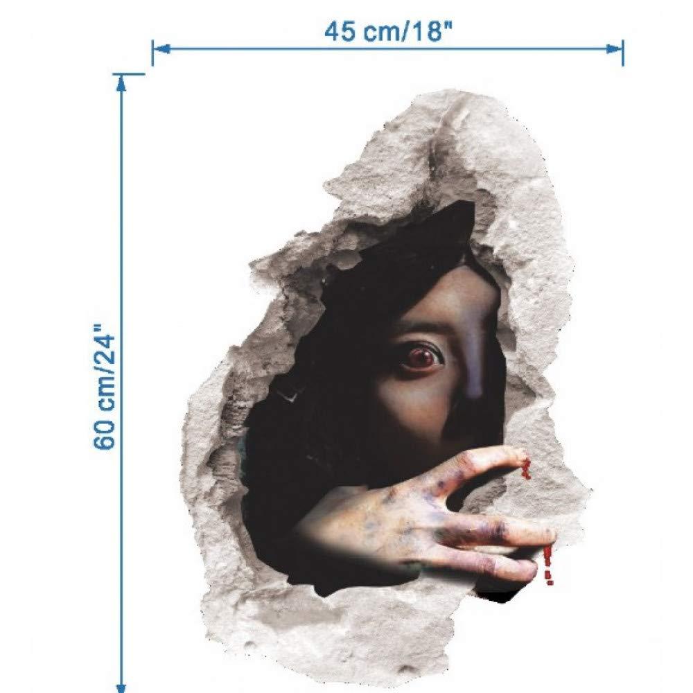 GSYDWSJTZ 2pcs Halloween 3D estereoscópico Horror Horror estereoscópico Etiqueta de la Pared Bar Shop decoración Dormitorio Dormitorio Spoof Scary Ghost Pegatinas 8f936a