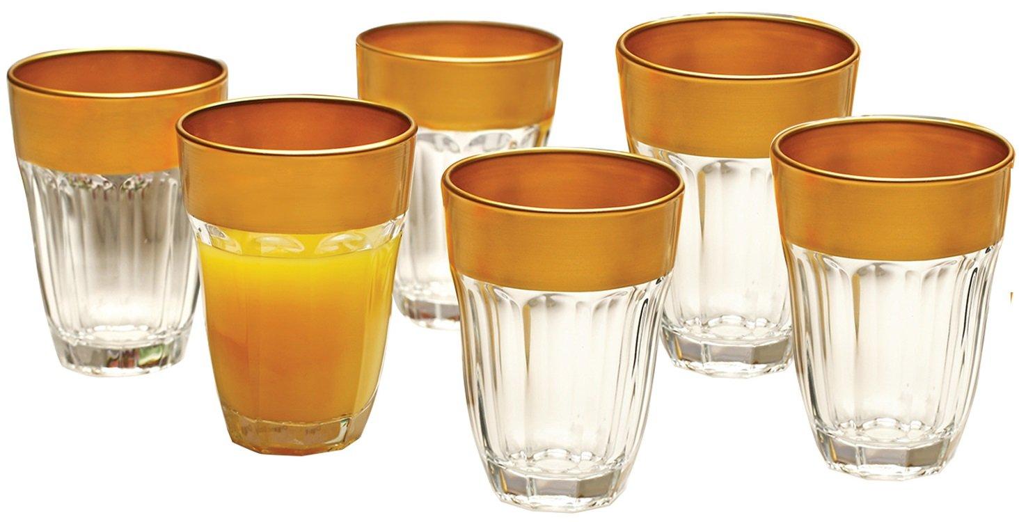 Circleware 51809 De'ore Gold Glassware Products, Clear Rim