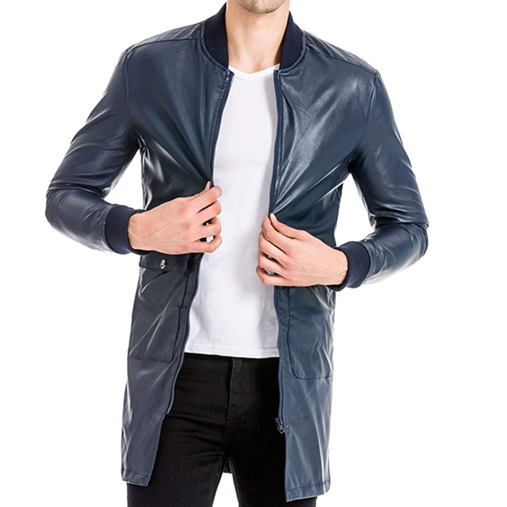 GREFER Men's Jacket Fashion Pocket Long Full Zipper Pure Color Imitation Leather Coat Navy by GREFER