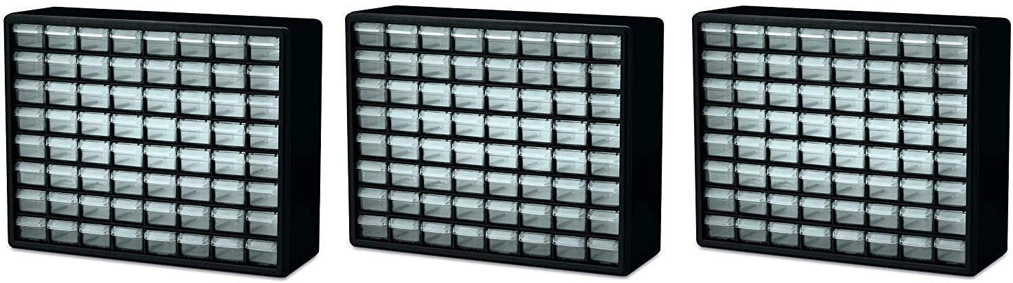 Akro-Mils 10164 64 Drawer Plastic Parts Storage Hardware and Craft Cabinet, 20-Inch by 16-Inch by 6-1/2-Inch, Black (Pack of 3) by Akro-Mils