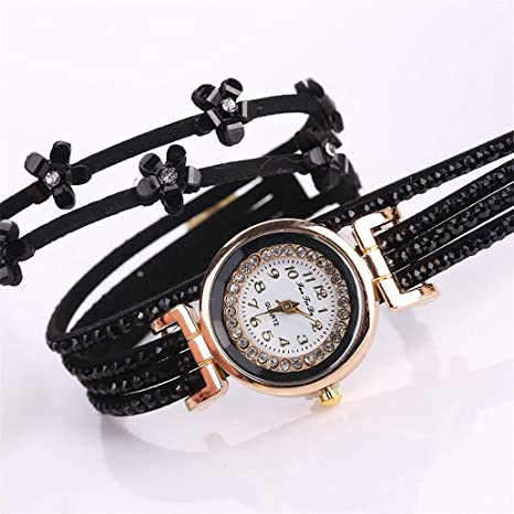Amazon.com: Fashion Women Leather Bracelet Watches Ladies ...