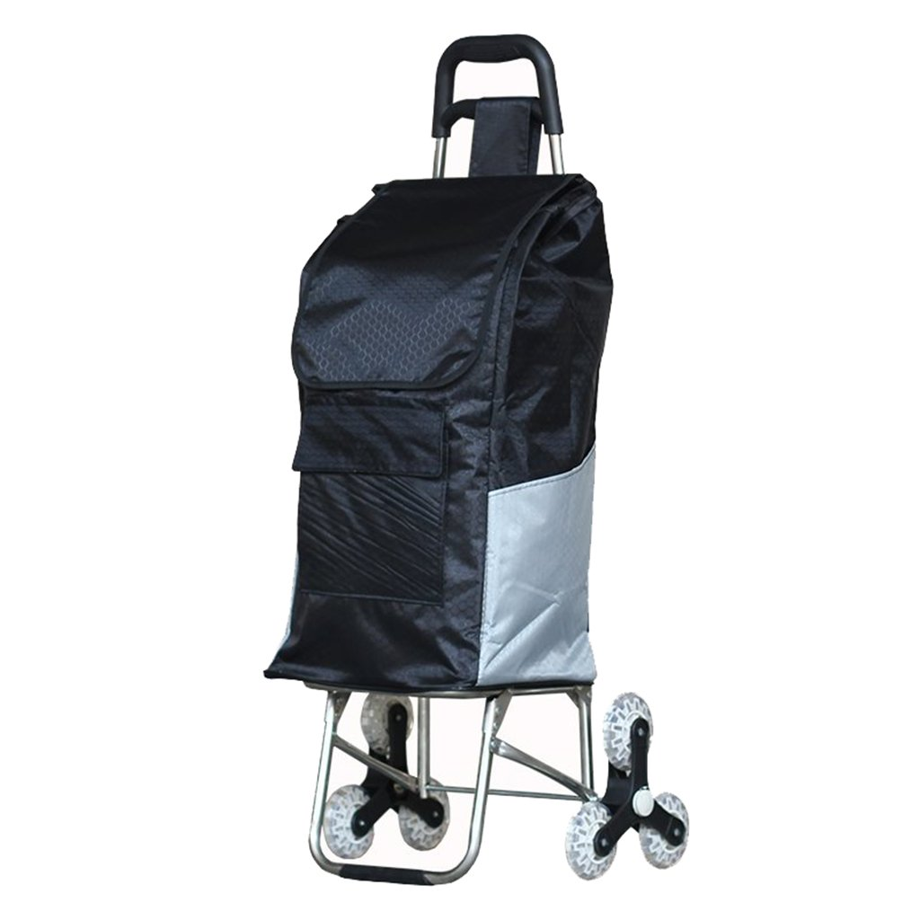 Shopping Carts, with Stair Climbing Stainless Steel Luggage Trolley Lightweight Folding Elderly, Bearing About 40KG (Color : Black, Size : 43101cm)