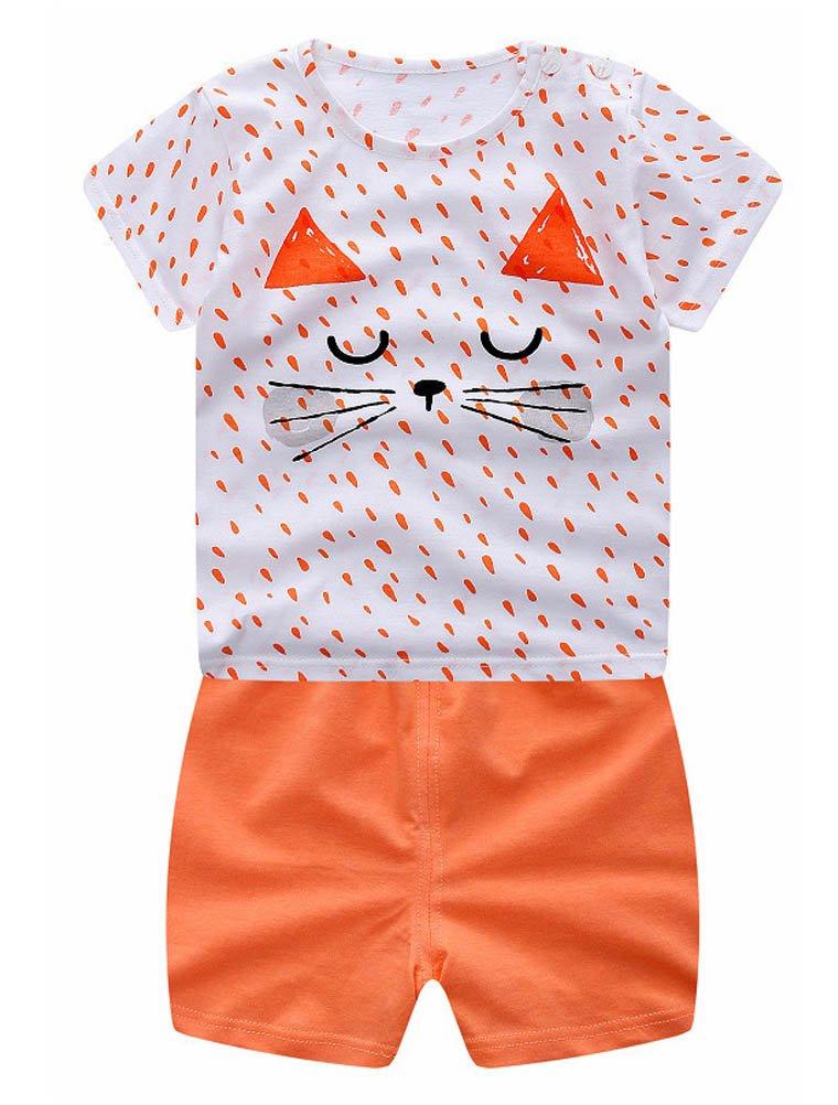 ARAUS Completini e Coordinati Da Neonato Bambini Di Cotone Magliette e Pantalocini Due Pezzi 0-18 Mesi 0340P10